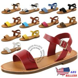 NEW Women's Shoe Comfort Simple Basic Ankle Strap Flat Sanda