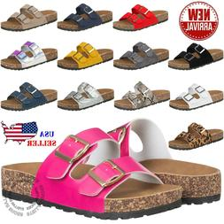 NEW Women's Slide Buckle T-Strap Cork Footbed Platform Flip
