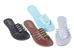 New Women's Slide Sandals Flats with Stylish Beads Design