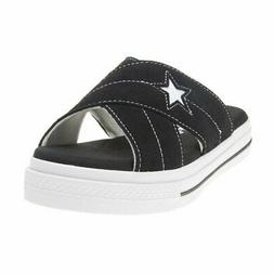 New WOMENS CONVERSE BLACK ONE STAR SUEDE SANDALS SLIP ON STY