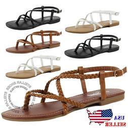 New Womens Braided Strappy Gladiator Thong T Strap Flat Faux