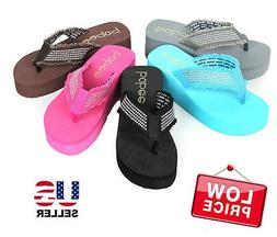 NEW Womens Fashion Wedge Platform Thong Slip On Flip Flops S