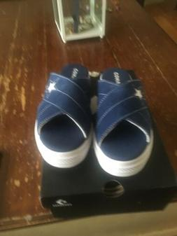 New Womens Converse One Star Sandal Slip Navy/ White Size 6