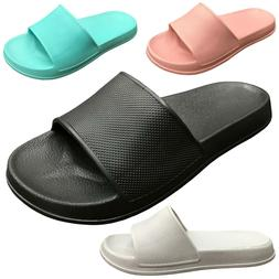NEW Womens Slide Sandals Solid Colored Soft Rubber Slip On F