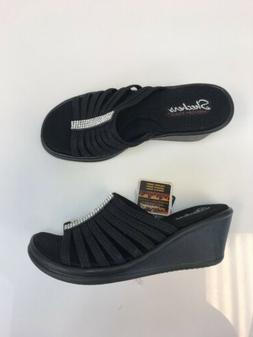 NWT Skechers Women's Black Rhinestone Slip On Wedge Sandals