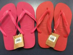 NWT Womens HAVAIANAS Top Sandals Fuchsia or Ruby Red Thong F