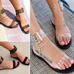 Open Toe Gladiator Transparent Sandals Women Clear Jelly Sum