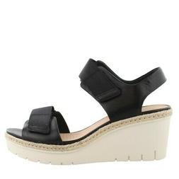 Clarks Palm Shine Wedge  Leather Womens Sandals High Heel  H