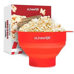 PowerLix Microwave Popcorn Popper, Collapsible Silicone Bowl