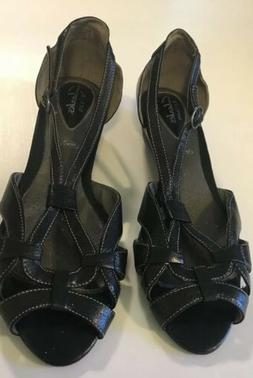 clarks artisan sandals Black Strappy Low Wedge 8.5M New Othe