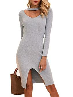 BerryGo Women's Sexy Halter Split Knit Sweater Bodycon Dress