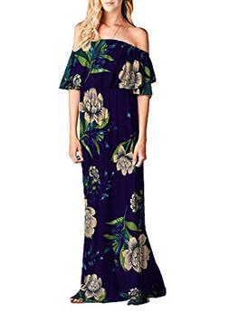 MIHOLL Womens Off The Shoulder Ruffle Party Dresses Maxi Cas