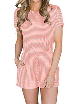 MIHOLL Striped Rompers Women Casual Short Sleeve Jumpsuits w