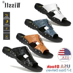 Summer Beach Men Casual Leather Sandals Shoes Outdoor Anti-s