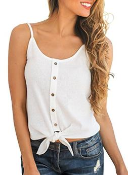 MIHOLL Women's Summer Sexy Strappy Sleeveless Button Tie Fro
