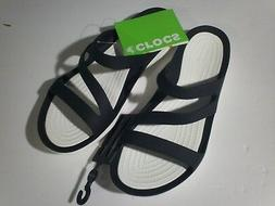Crocs  Swiftwater Graphic Sandals Womens Black  - NEW