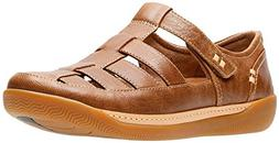 CLARKS Women's Un Haven Cove Dark Tan Leather 9.5 D US