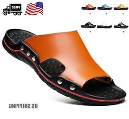 US Summer Beach Mens Casual Leather Sandals Shoes Outdoor An