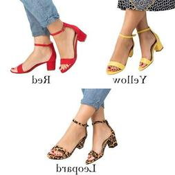 US Summer Women's Casual Block Heel Sandals Open Toe Ankle S
