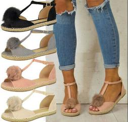 US Women Espadrilles Casual Sandals Pompom Shoes Gladiator P