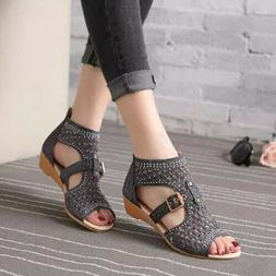 US Women's Casual Sandals Wedges Cut Out Summer Gladiator Sh