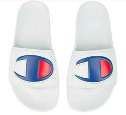 Champion White Red Blue Mens IPO Slides Sandals Sizes 8 to 1