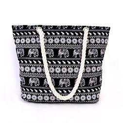 Women's Large Beach Bag Tote,Zipper Top Rope Handles Beach B