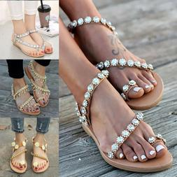 Women Bohemian Flat Sandals Toe Ring Rhinestone Tassel Summe