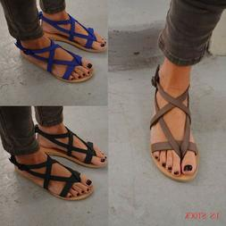 Women Gladiator Sandals Shoes Thong Flip Flops Flat T Strap