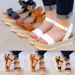 Women's Ankle Strap Flatform Wedges Shoes Espadrilles Summer