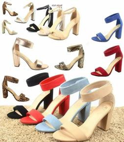 Women's Cute Open Toe Ankle Strap Chunky Heels Sandals Shoes