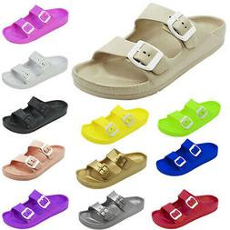 Women's Double Buckle Sandals Adjustable Slide EVA Rubber St