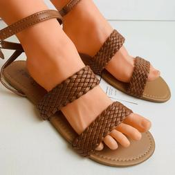 Women's Faux Leather Ankle Strap Woven Sandals Brown Flats S