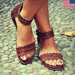 Women's Flat Leather Ankle Strap Sandals Ladies Summer Beach