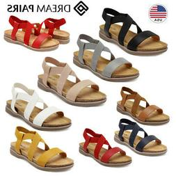 DREAM PAIRS Women's Flat Sandals Open Toe Elastic Cross Stra