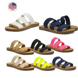 DREAM PAIRS Women's Flat Slide Sandals Open Toe Slip on Sand