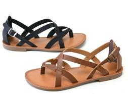Women's Gladiator Sandals Flat Thong Strap Faux Leather Stra