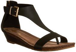 Kenneth Cole REACTION Women's Great Gal Wedge Sandal, Black,