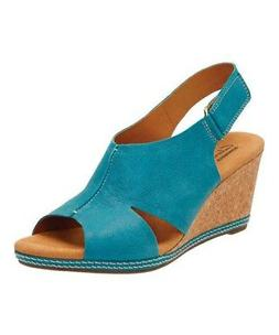 Clarks Women's Helio Float Leather Peep Toe Wedge Sandals Bl