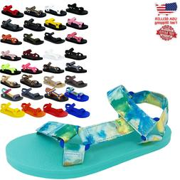 Women's Kid Girl and Boy EVA Rubber Double Buckle Slides Com