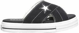 Converse Women's One Star Suede Slip Sandal, Black/Egret/Whi