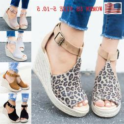 Women's Sandals Wedge Heels Ankle Strap Ladies Casual Open T