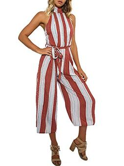 BerryGo Women's Sexy Backless Halter Striped Loose Leg Jumps