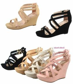 Women's Strappy Ankly Strap Triple Buckles  Wedge Sandal Sho