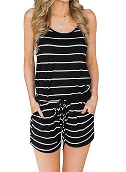 MIHOLL Women's Summer Striped Jumpsuit Casual Loose Sleevele
