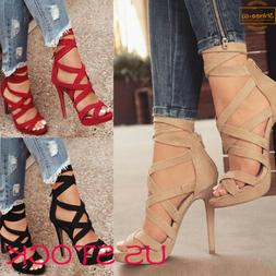 Women's Thin High Heels Sandals Summer Buckle Ankle Strap La