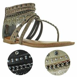 Not Rated Women's Willow Faux Leather Studded Thong Gladiato