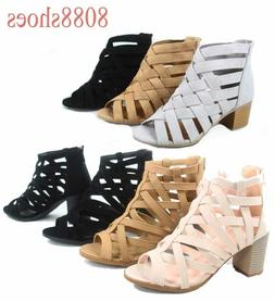 Women's Zip Strappy Open Toe Chunky High Wedge Heel Sandal S