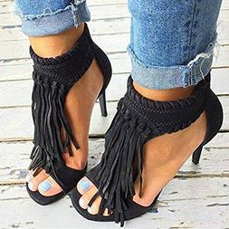 Women Sandals Ankle Strappy Summer Peep Toe Tassels High Hee