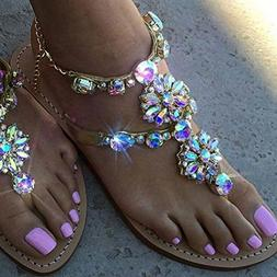 Women Slide Sandal, Women Bohemia Shining Rhinestones Decor